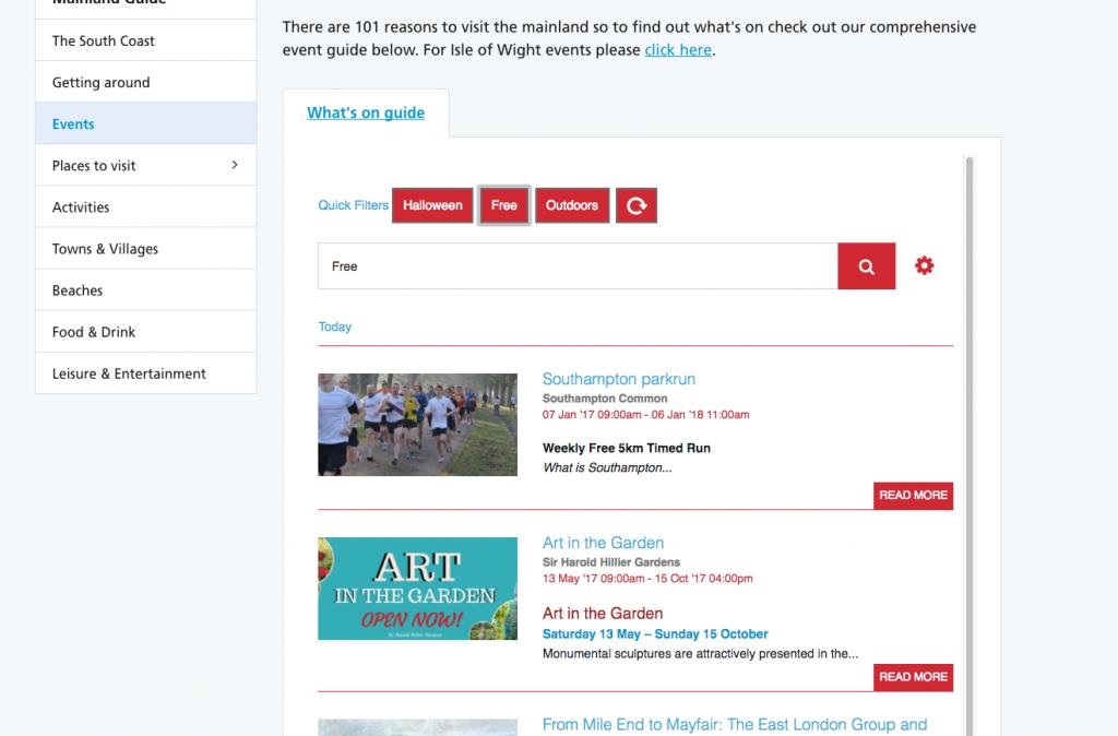 Screenshot of Events Widget