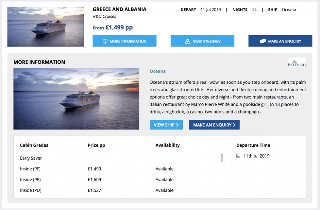 Screenshot of Cruise Search