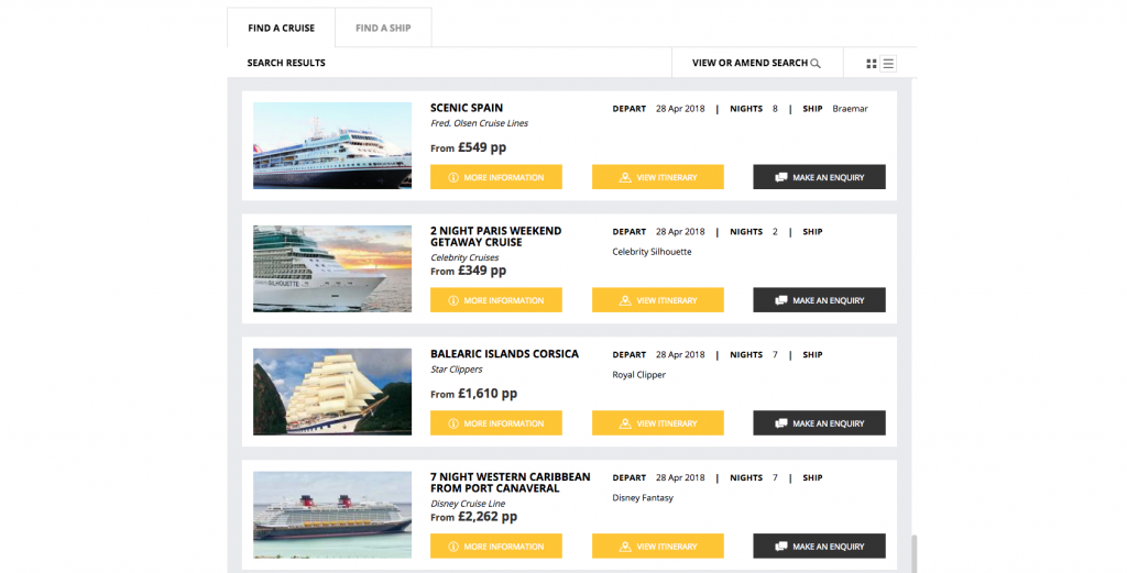 Screenshot of Cruise Search Customisable Colours