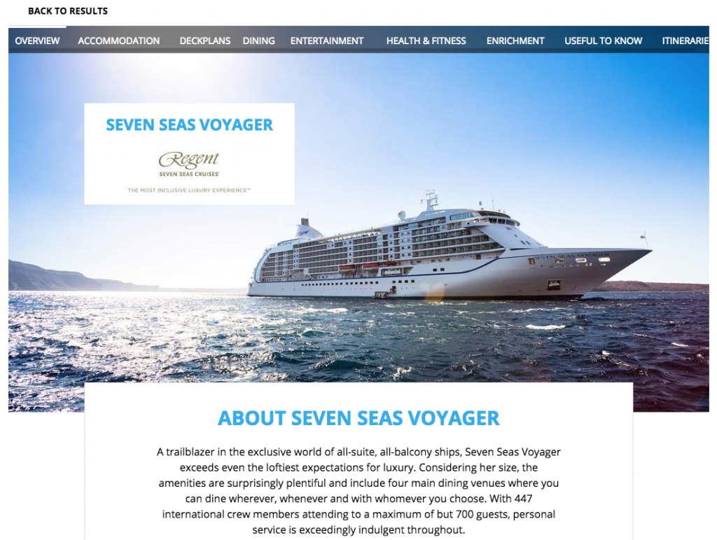 Screenshot of Seven Seas Voyager on Cruise Search