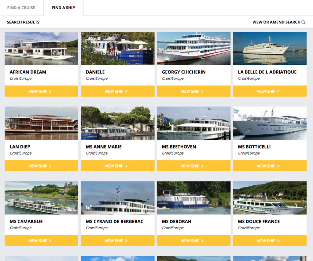Screenshot of CroisiEurope ships on Cruise Search