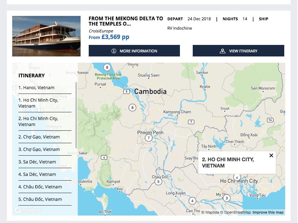 Screenshot of CroisiEurope Itineraries