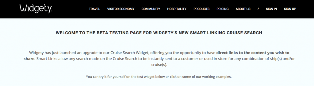 Screenshot of Widgety site