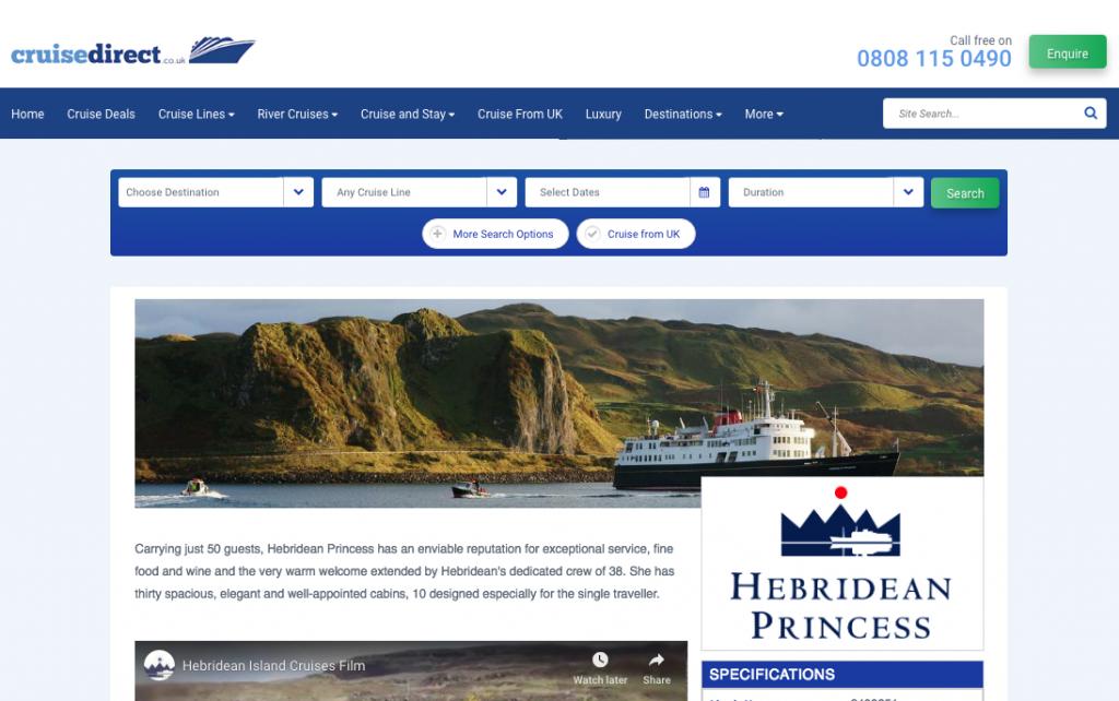 Screenshot of Hebridean Princess on Cruise Direct