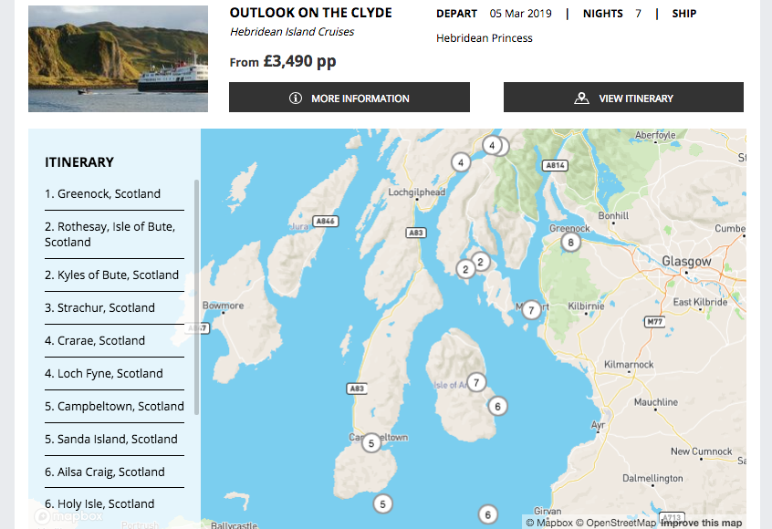 Screenshot of Hebridean itinerary on a Cruise Search