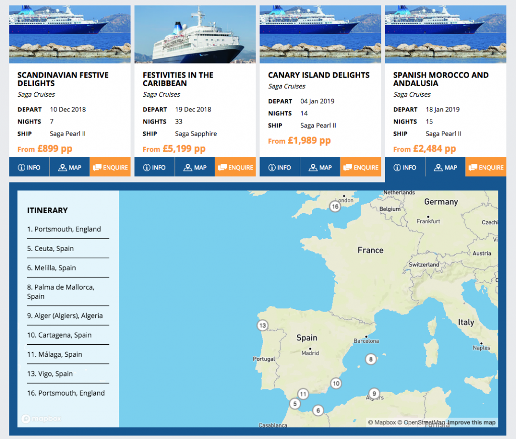 Screenshot of Saga Itineraries