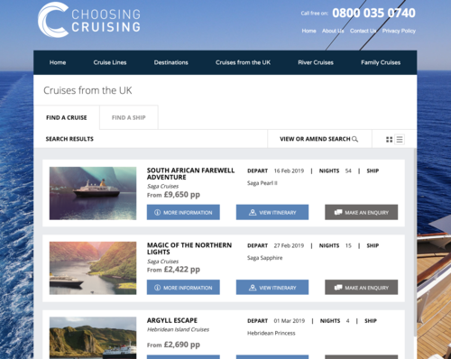 Screenshot of Cruise Search on Choosing Cruise website