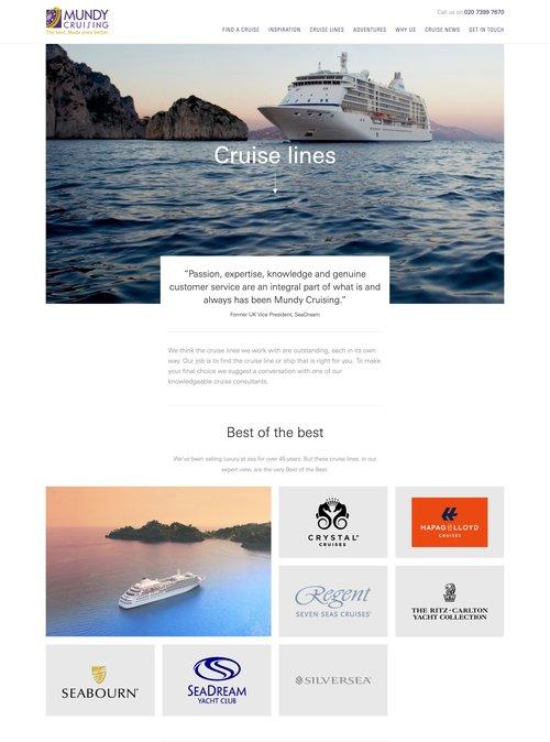 Screenshot of Mundy Cruising's Cruise Lines