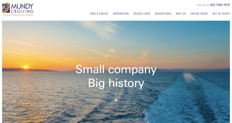 Screenshot of Mundy Cruising Homepage