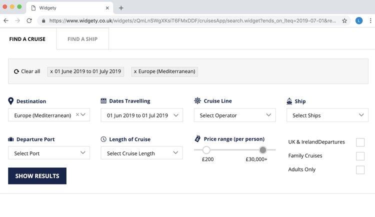 Screenshot of Widgety Cruise Search