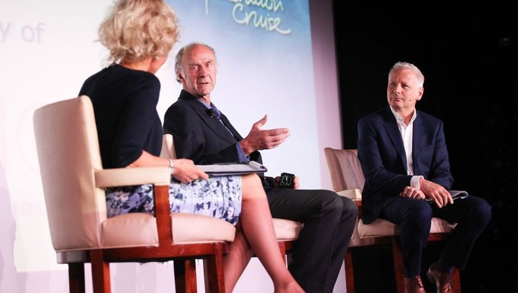Photograph of Speaker Ranulph Feinnes with Andy Harmer & Lucy Huxley.