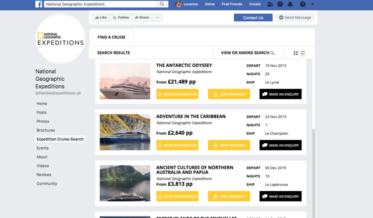A screenshot of a Widgety Cruise Search on National Geographic Expeditions' Facebook page