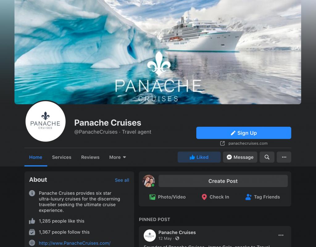 Screenshot of Panache Cruises Facebook