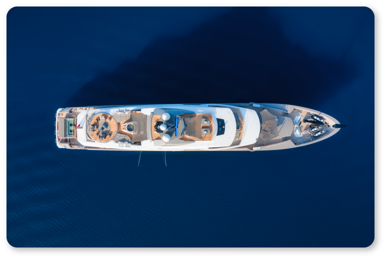 aerial photo of a ship from directly above