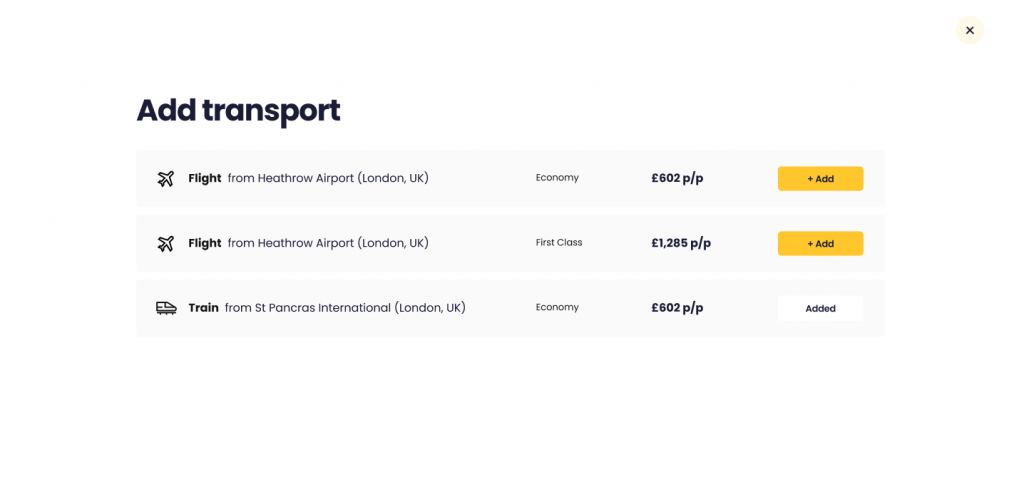 The option to add transport on new Holiday Search including flights and train options