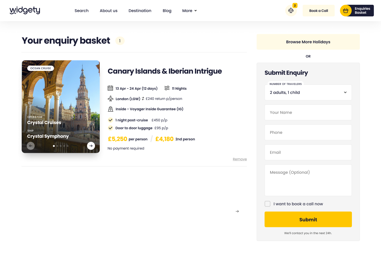 Enquiry basket on Widgety Holiday Search showing Canary Islands & Iberian Intrigue