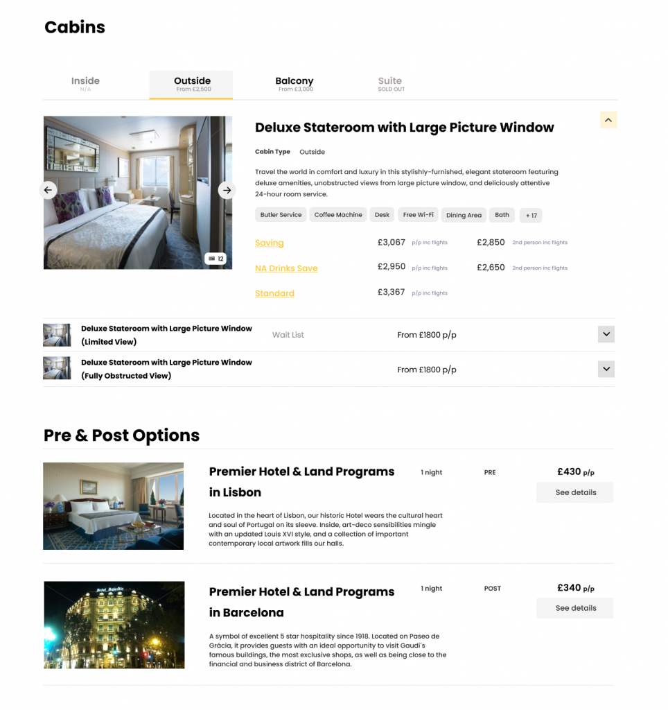 Example of cabins on Widgety Holiday Search including different types, pricing, images and pre/post cruise options