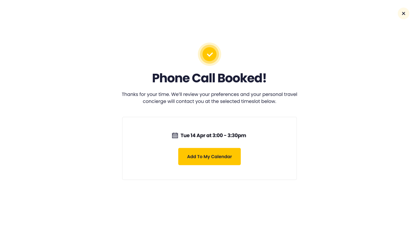 Ability to book a phone call directly with agent on Widgety Holiday Search