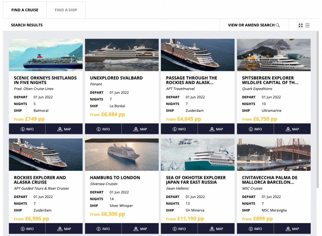 Screenshot of results on Widgety Cruise Search in block view