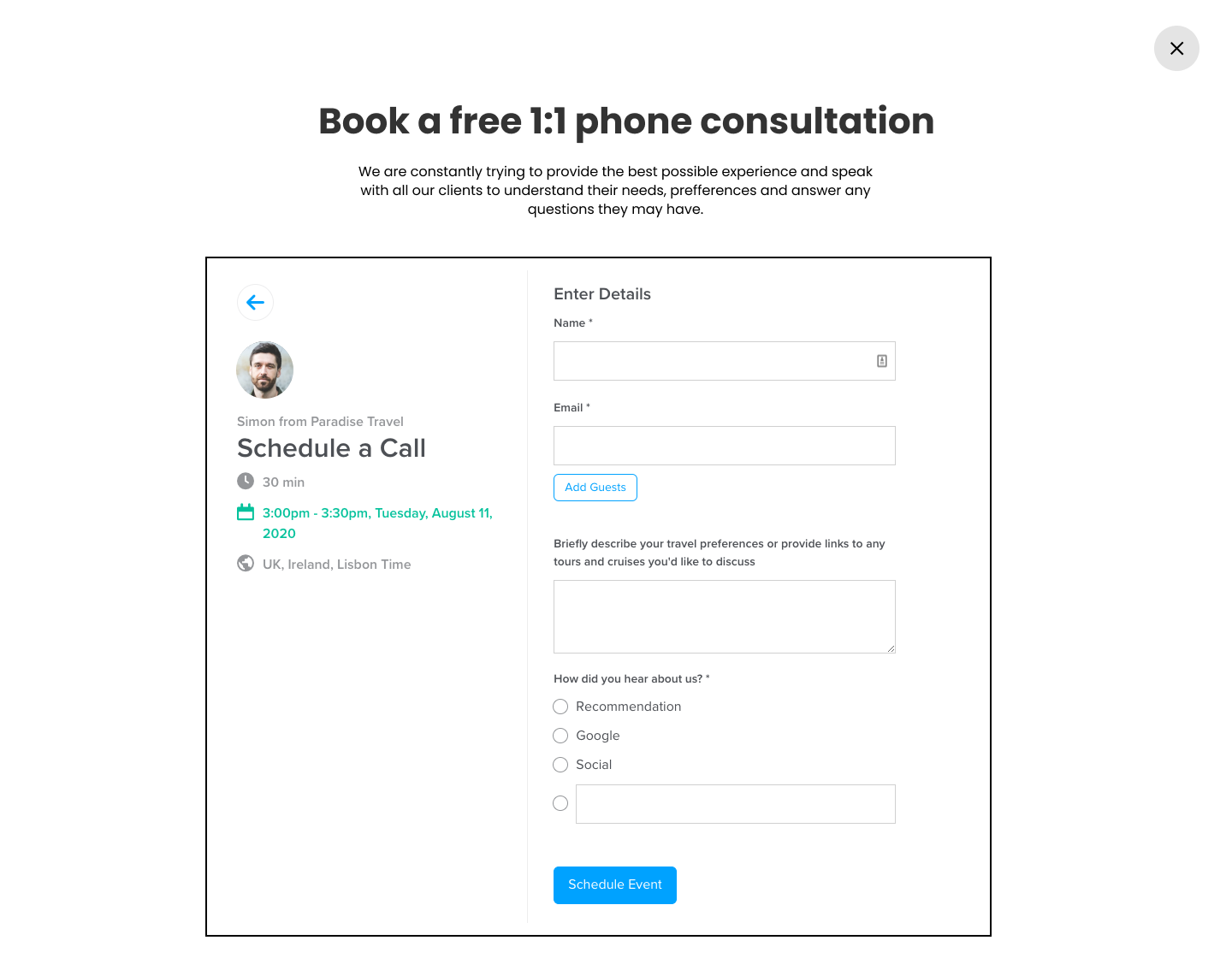 Book a free 1:1 phone consultation on Widgety Holiday Search & Calendly