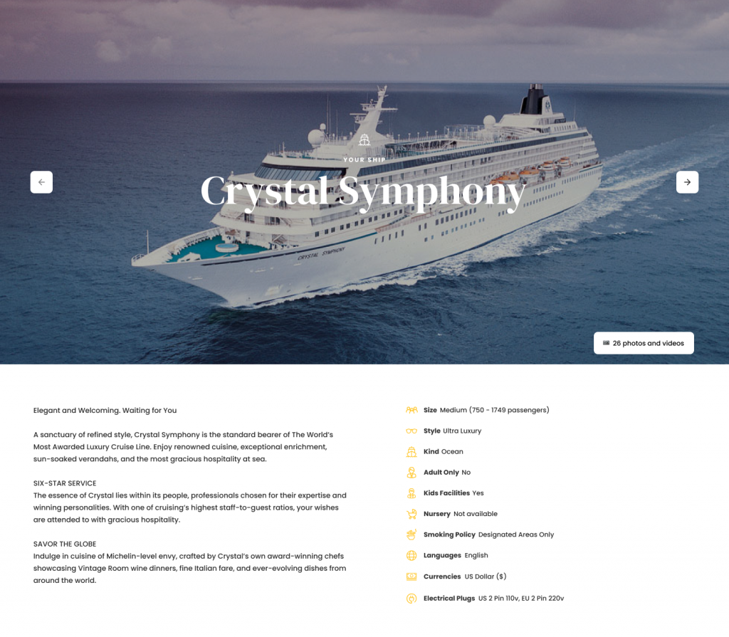 Crystal Symphony ship and ship facts from Widgety Holiday Search