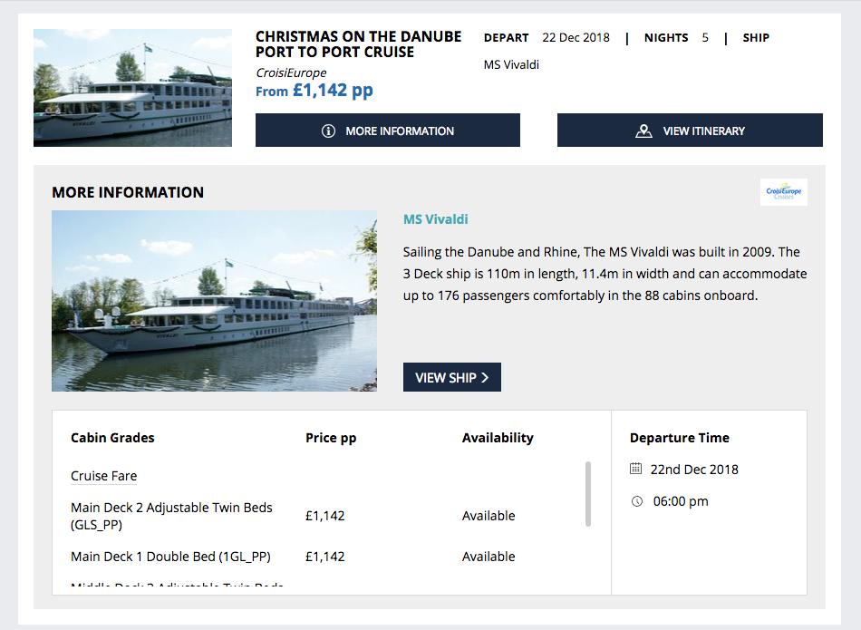 Screenshot of Widgety Cruise Search showing MS Vivaldi cruise