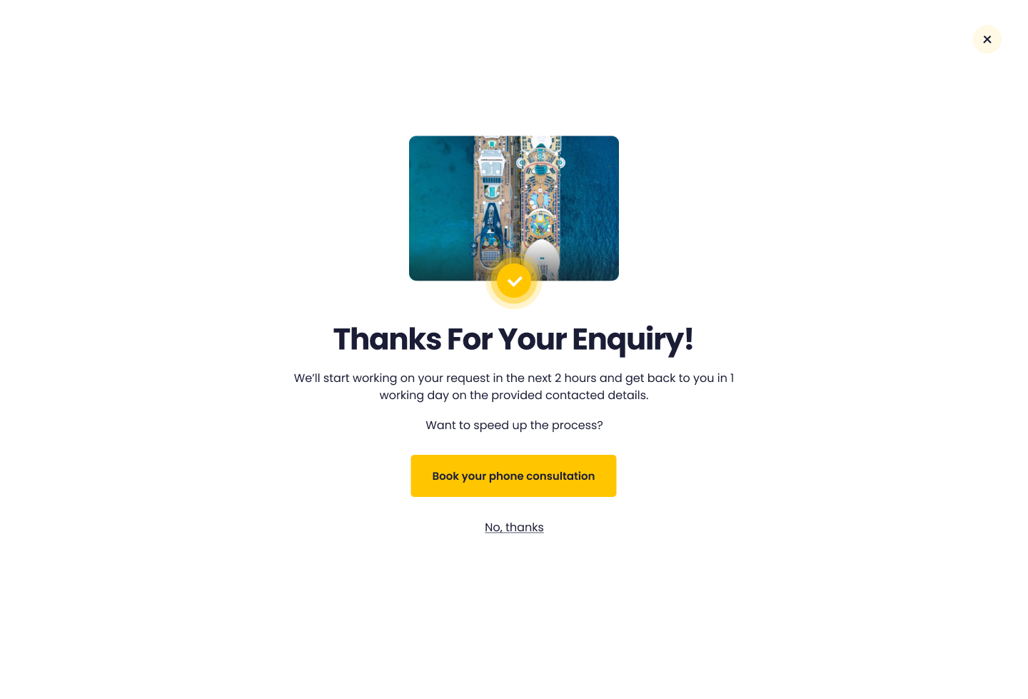 Thank you for your enquiry screen on Widgety Holiday Search