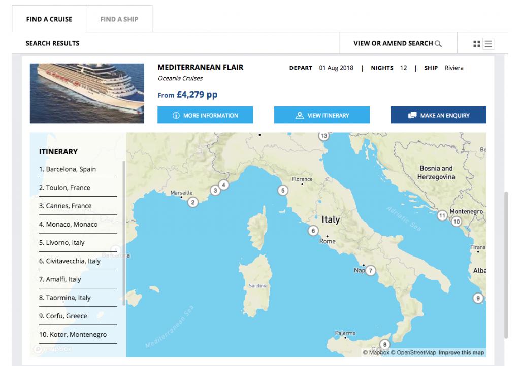 Screenshot of map on Widgety Cruise Search Widget