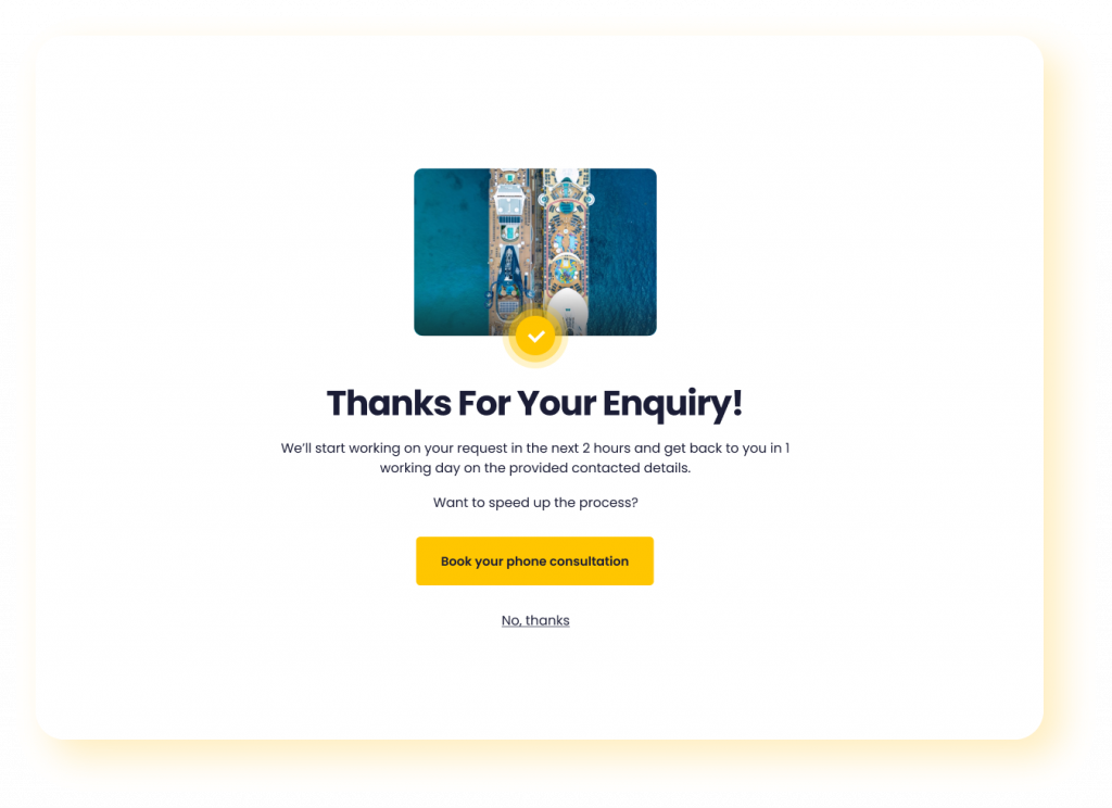 thank you for your enquiry screen on Widgety Holiday Search with rounded corners and yellow drop shadow