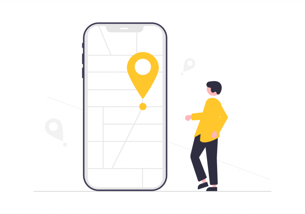Illustration of man with giant phone with map on it