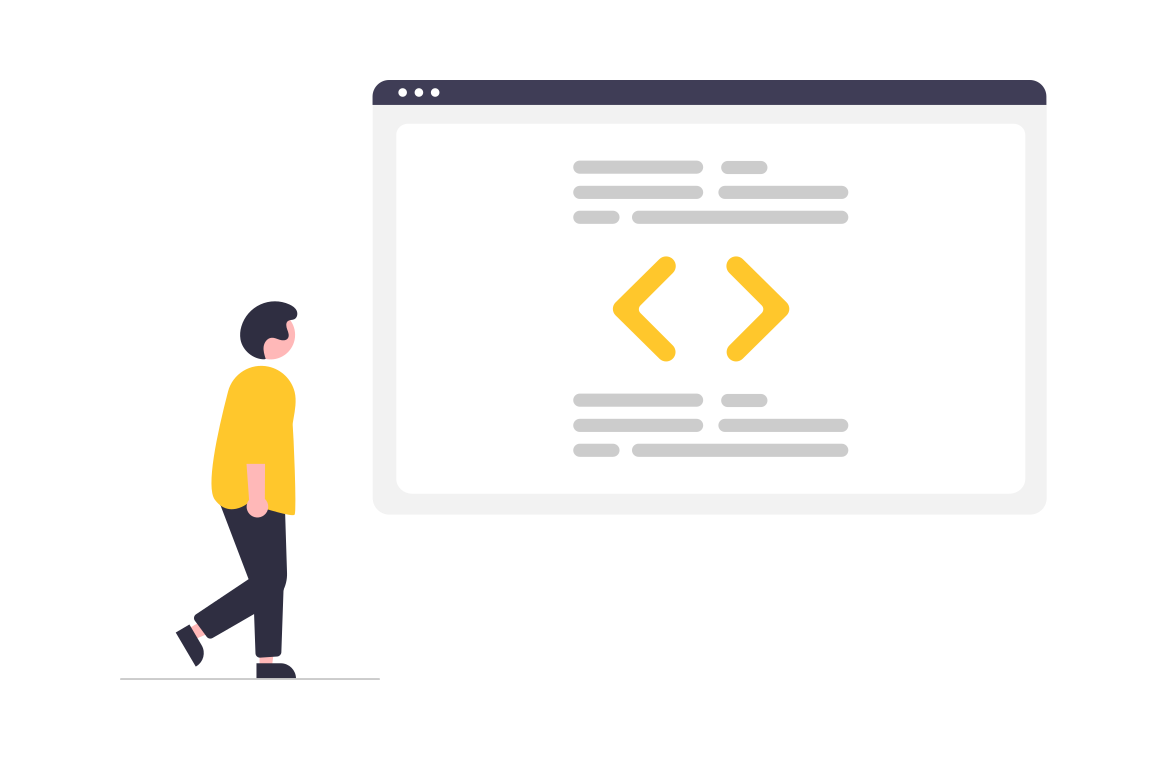 illustration of character looking at code