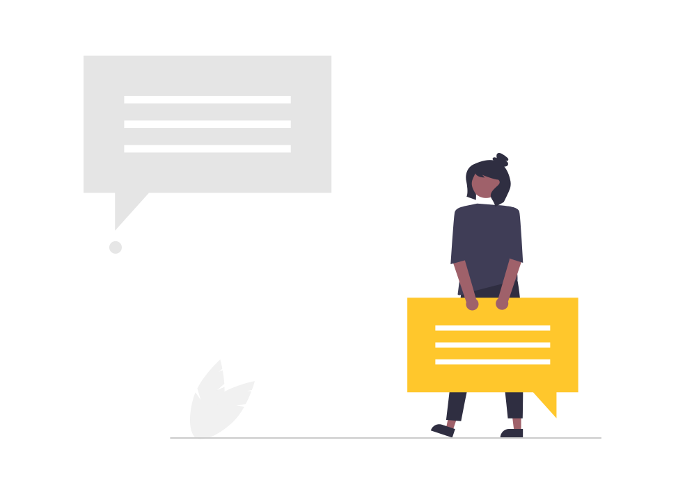 Illustration of character holding an opinion in a text message style box