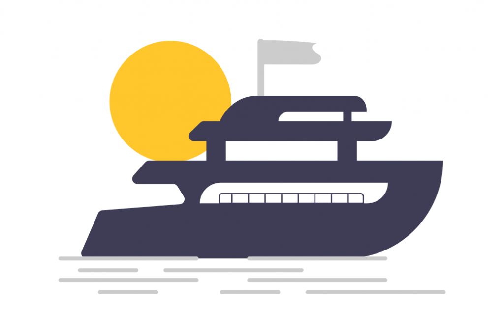 illustration of a yacht with sun behind