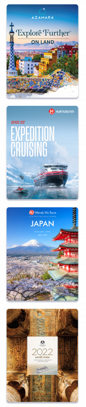 Four brochure covers vertical