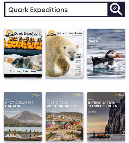 illustration of Quark expeditions brochure covers